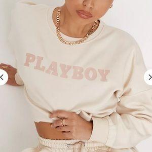 Playboy Sand Logo Cropped Sweatshirt NWT